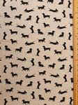 Dachshund Dog Fabric UK 80% Cotton 20% Poly material upholstered feel - Price Per Metre